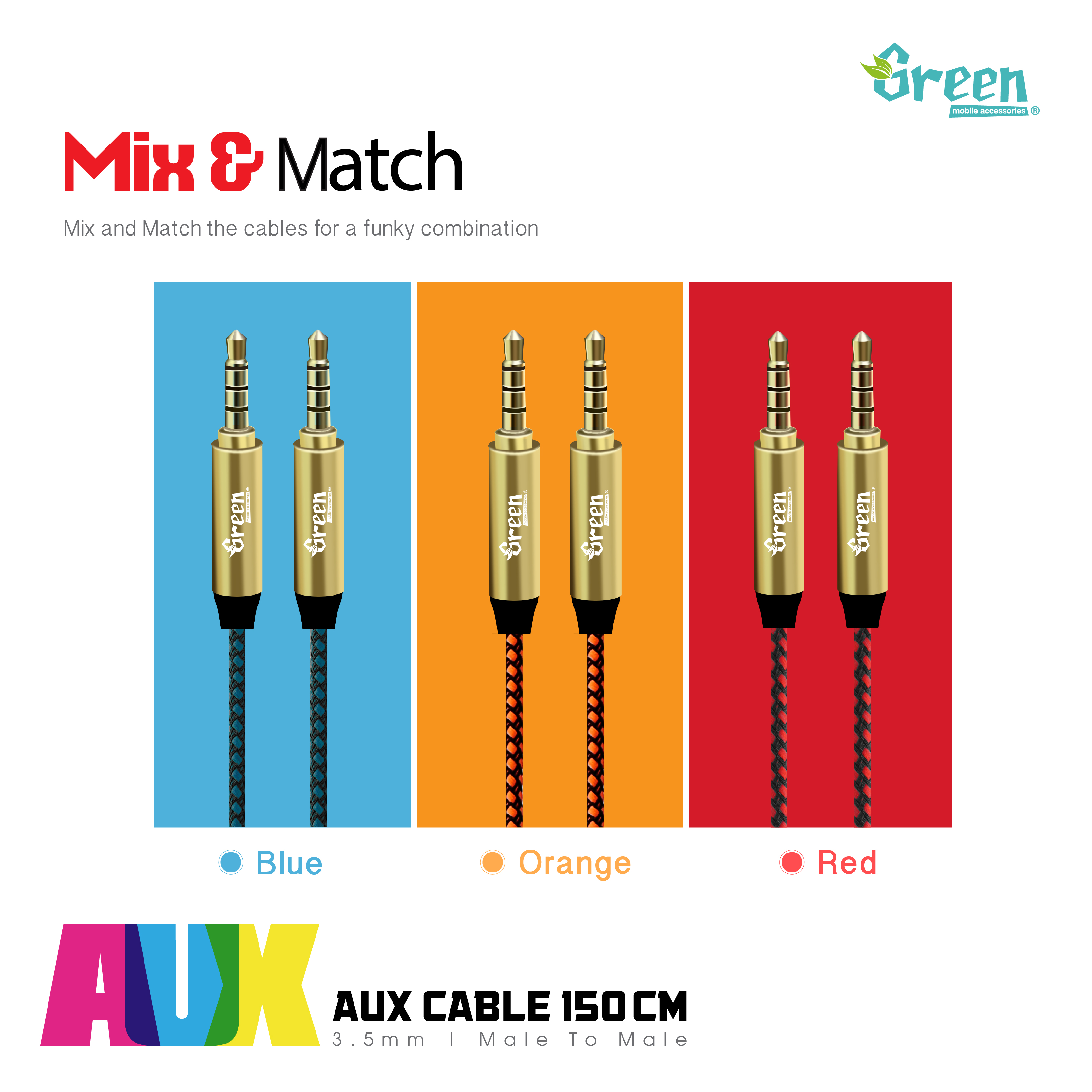 stereo aux audio cable male to male 5ft 150cm gr aux150. Black Bedroom Furniture Sets. Home Design Ideas