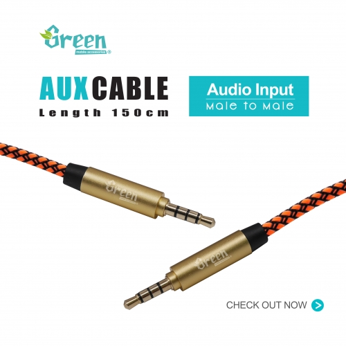 3.5mm Stereo Aux Audio Braided Cable Male To Male (5ft / 150cm) | GR-AUX150