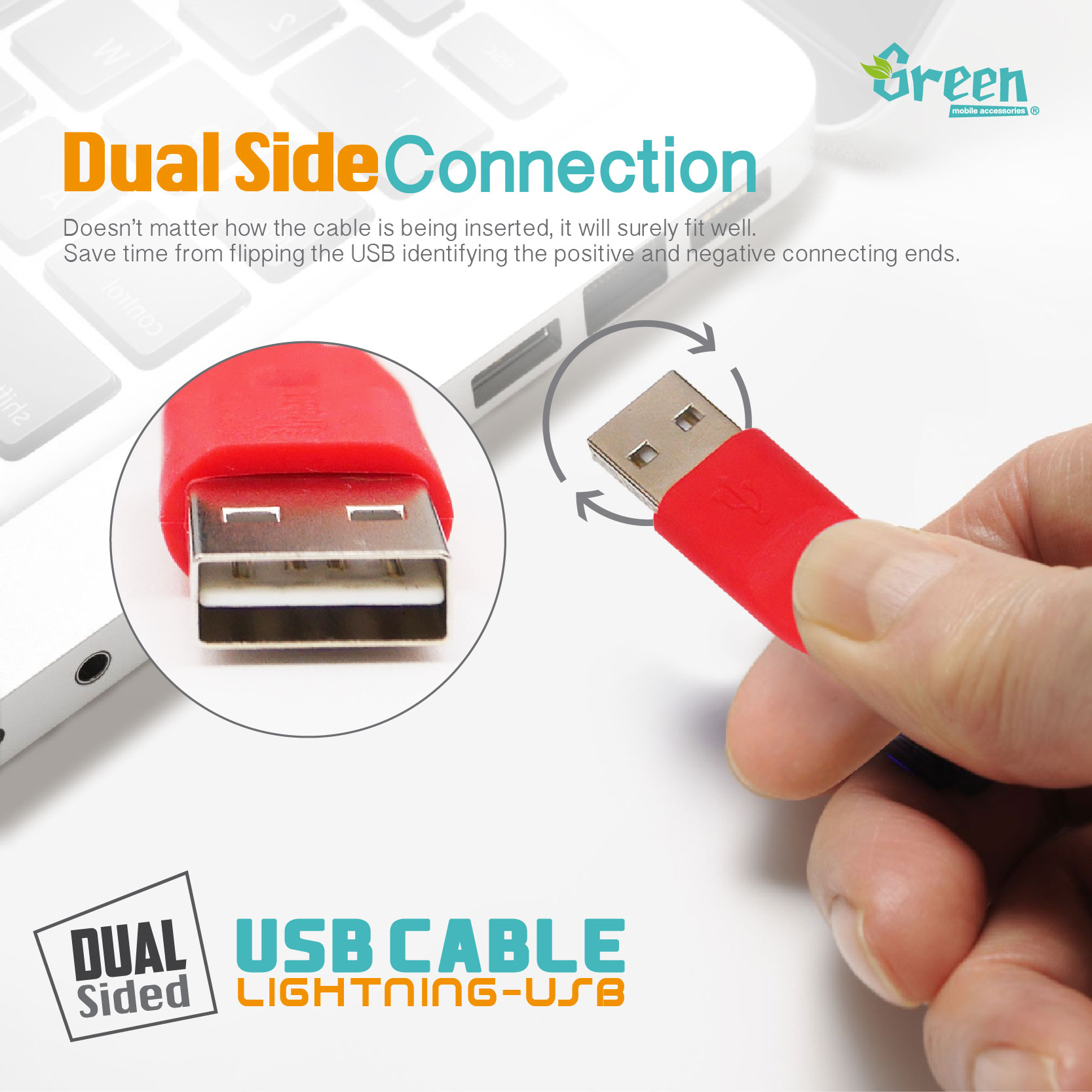 20cm / 100cm Flat Cord Dual Side Plugable USB | Lightning USB Cable | Rapid Charge & Sync Data