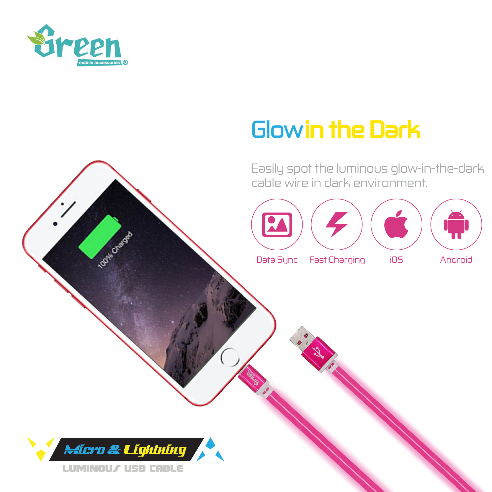 100cm Flat Design | 2 In 1 Lightning & Micro USB Dual-Surface | Rapid Charge & Sync Data
