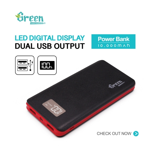 Digital Display 10,000mAh 2 USB Port | Power Bank GR-PBD100