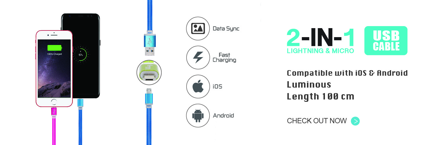 100cm Flat Cord | 2 In 1 Lightning & Micro USB Cable | Rapid Charge & Sync Data
