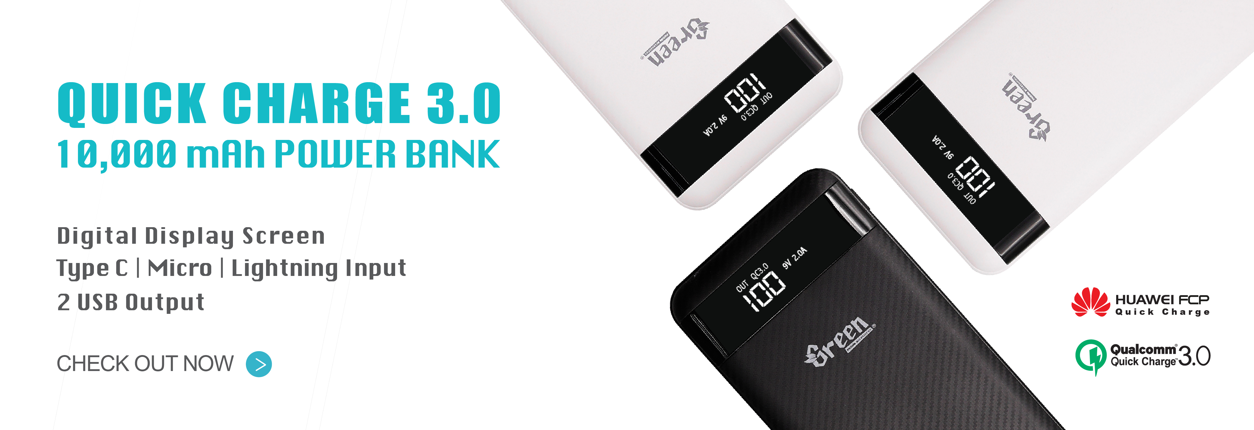 Quick Charge 3.0 10,000mAh 2 USB Port | Power Bank GR-PBQC200